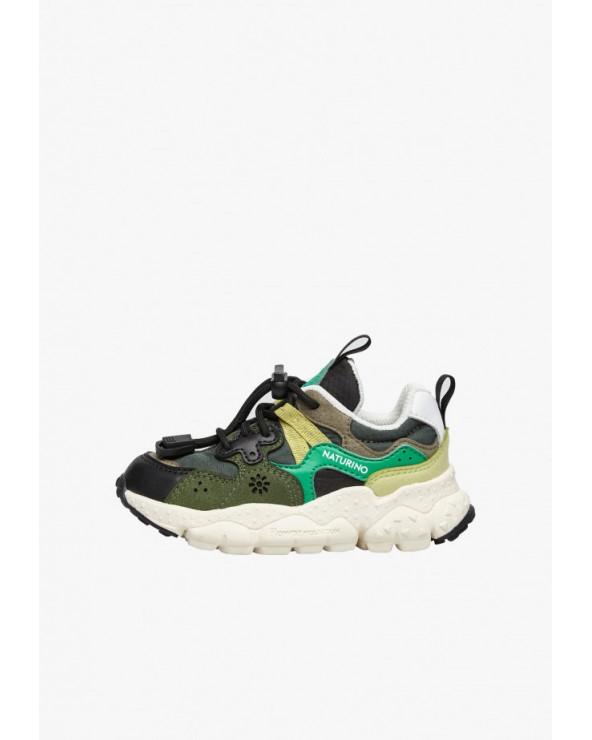 Sneaker in tessuto tecnico e pelle vegan, Nero/Ver
