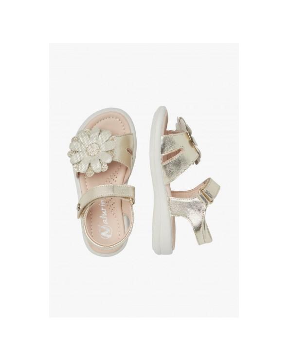 Sandalo in pelle laminata con fiore